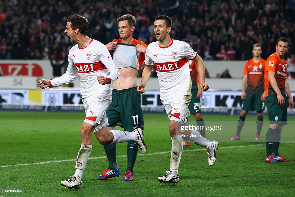 <a gi-track='captionPersonalityLinkClicked' href=/galleries/search?phrase=Martin+Harnik&family=editorial&specificpeople=733193 ng-click='$event.stopPropagation()'>Martin Harnik</a> (L) of Stuttgart celebrates his team's second goal with team mate <a gi-track='captionPersonalityLinkClicked' href=/galleries/search?phrase=Vedad+Ibisevic&family=editorial&specificpeople=535857 ng-click='$event.stopPropagation()'>Vedad Ibisevic</a> as Markus Rosenberg of Bremen reacts during the Bundesliga match between VfB Stuttgart and SV Werder Bremen at Mercedes-Benz Arena on April 13, 2012 in Stuttgart, Germany.