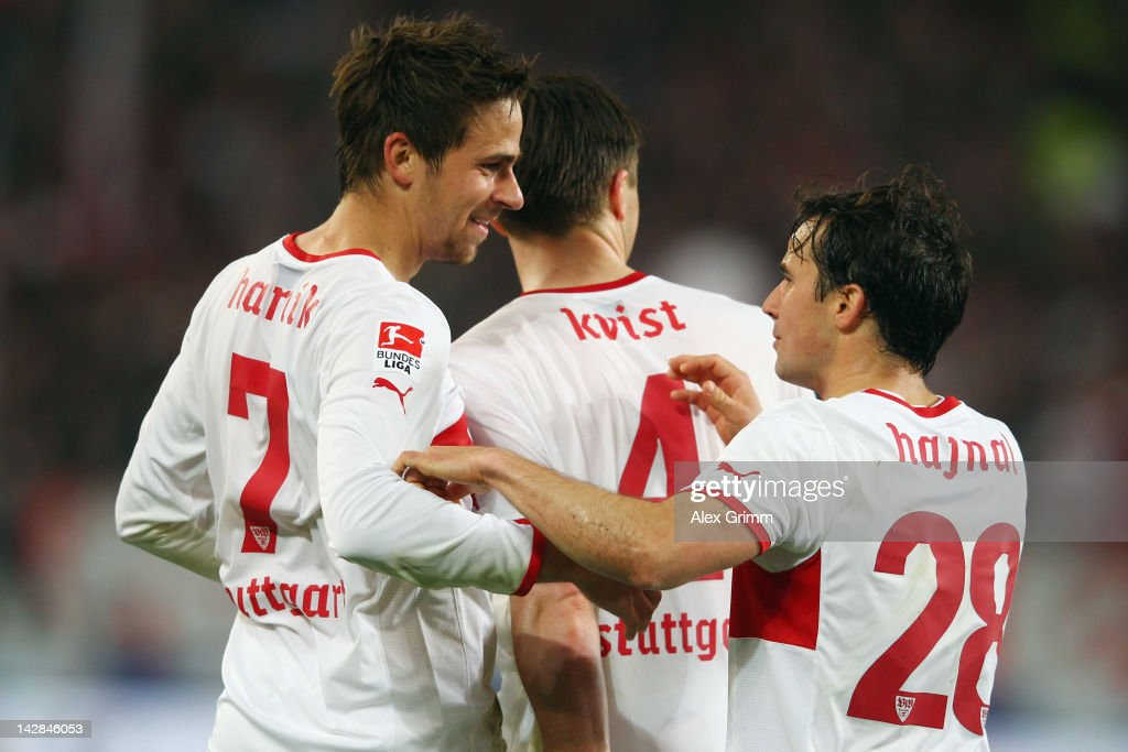 <a gi-track='captionPersonalityLinkClicked' href=/galleries/search?phrase=Martin+Harnik&family=editorial&specificpeople=733193 ng-click='$event.stopPropagation()'>Martin Harnik</a> of Stuttgart celebrates his team's second goal with team mates <a gi-track='captionPersonalityLinkClicked' href=/galleries/search?phrase=William+Kvist&family=editorial&specificpeople=2465270 ng-click='$event.stopPropagation()'>William Kvist</a> and <a gi-track='captionPersonalityLinkClicked' href=/galleries/search?phrase=Tamas+Hajnal&family=editorial&specificpeople=752280 ng-click='$event.stopPropagation()'>Tamas Hajnal</a> during the Bundesliga match between VfB Stuttgart and SV Werder Bremen at Mercedes-Benz Arena on April 13, 2012 in Stuttgart, Germany.