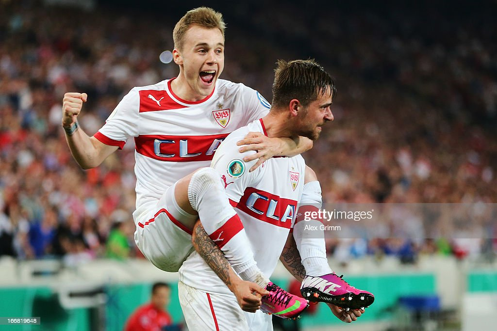 <a gi-track='captionPersonalityLinkClicked' href=/galleries/search?phrase=Martin+Harnik&family=editorial&specificpeople=733193 ng-click='$event.stopPropagation()'>Martin Harnik</a> of Stuttgart celebrates his team's second goal with team mate Alexandru Maxim during the DFB Cup Semi Final match between VfB Stuttgart and SC Freiburg at Mercedes-Benz Arena on April 17, 2013 in Stuttgart, Germany.