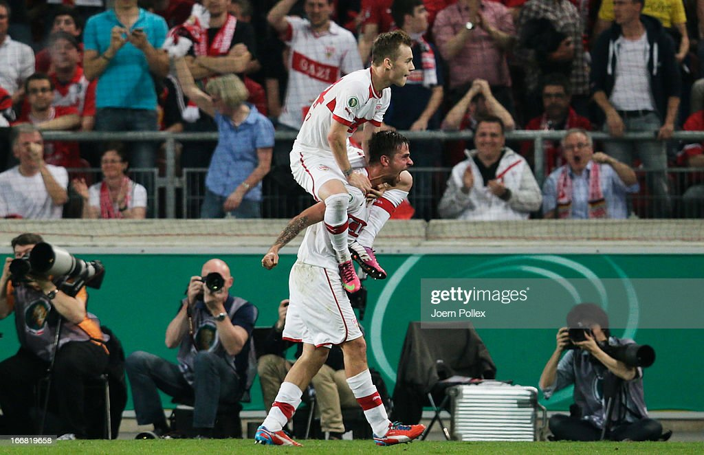 <a gi-track='captionPersonalityLinkClicked' href=/galleries/search?phrase=Martin+Harnik&family=editorial&specificpeople=733193 ng-click='$event.stopPropagation()'>Martin Harnik</a> of Stuttgart celebrates with his team mate Alexandru Maxim after scoring his team's second goal during the DFB Cup Semi Final match between VfB Stuttgart and SC Freiburg at Mercedes-Benz Arena on April 17, 2013 in Stuttgart, Germany.