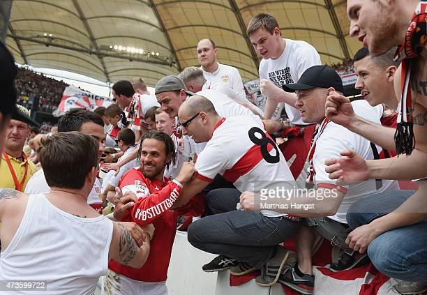 Martin Harnik of Stuttgart celebrates with the fans after the Bundesliga match between VfB Stuttgart and Hamburger SV at MercedesBenz Arena on May 16...