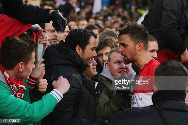 Martin Harnik of Stuttgart discusses with the fans after the Bundesliga match between VfB Stuttgart and Hertha BSC Berlin at MercedesBenz Arena on...