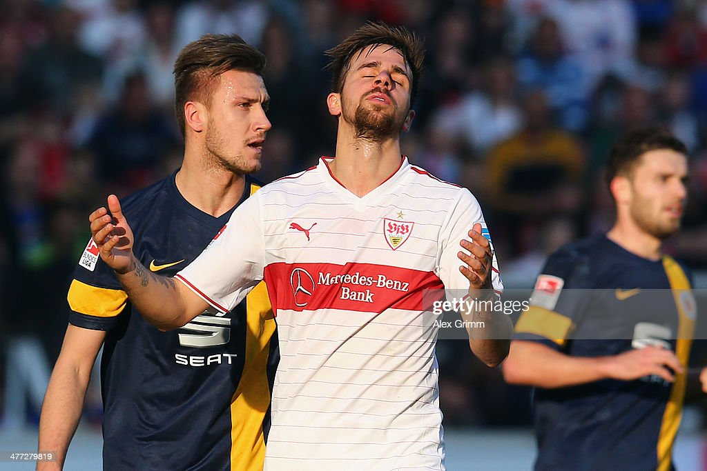 Martin Harnik of Stuttgart reacts during the Bundesliga match between VfB Stuttgart and Eintracht Braunschweig at MercedesBenz Arena on March 8 2014...