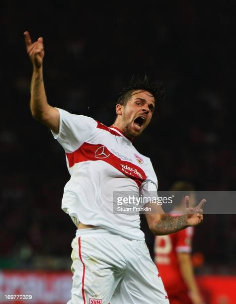 Martin Harnik of VfB Stuttgart celebrates as he scores their second goal during the DFB Cup Final match between FC Bayern Muenchen and VfB Stuttgart...