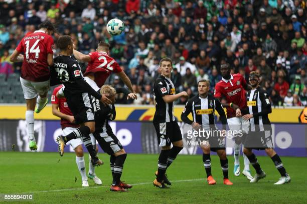 Martin Harnik scores the equalizing goal to make it 11 during the Bundesliga match between Borussia Moenchengladbach and Hannover 96 at BorussiaPark...