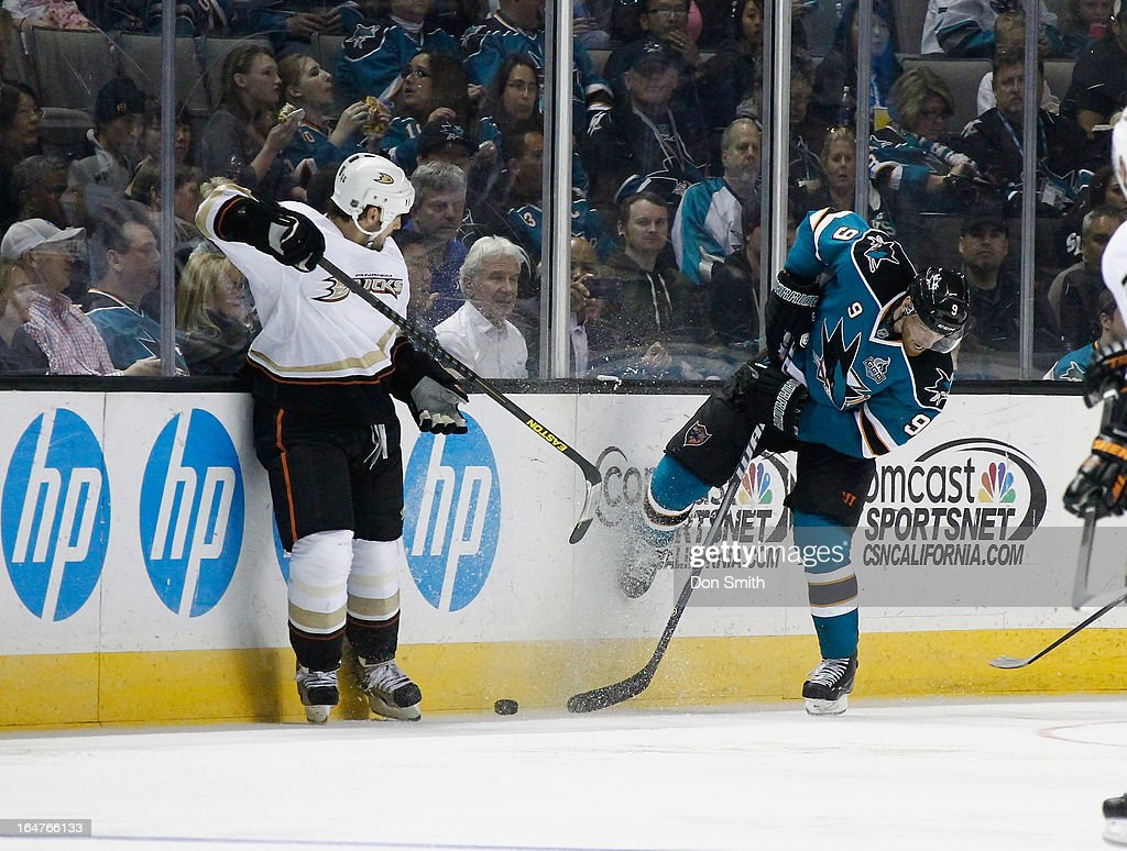 <a gi-track='captionPersonalityLinkClicked' href=/galleries/search?phrase=Martin+Havlat&family=editorial&specificpeople=202654 ng-click='$event.stopPropagation()'>Martin Havlat</a> #9 of the Anaheim Ducks fights for the puck against a member of the San Jose Sharks during an NHL game on March 27, 2013 at HP Pavilion in San Jose, California.
