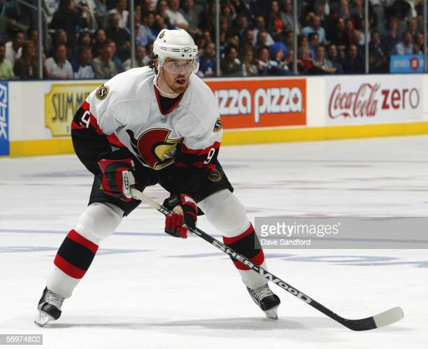 Martin Havlat of the Ottawa Senators readies in postion for the play against the Toronto Maple Leafs during their NHL game at the Air Canada Centre...