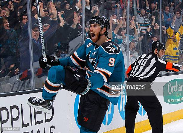 Martin Havlat of the San Jose Sharks celebrates his goal against the Phoenix Coyotes during an NHL game on January 24 2013 at HP Pavilion in San Jose...