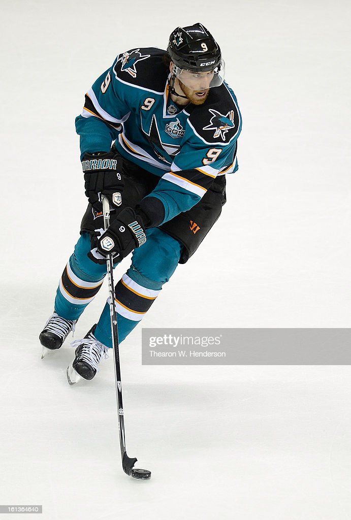 Martin Havlat #9 of the San Jose Sharks skates with control of the puck against the Phoenix Coyotes at HP Pavilion on February 9, 2013 in San Jose, California.