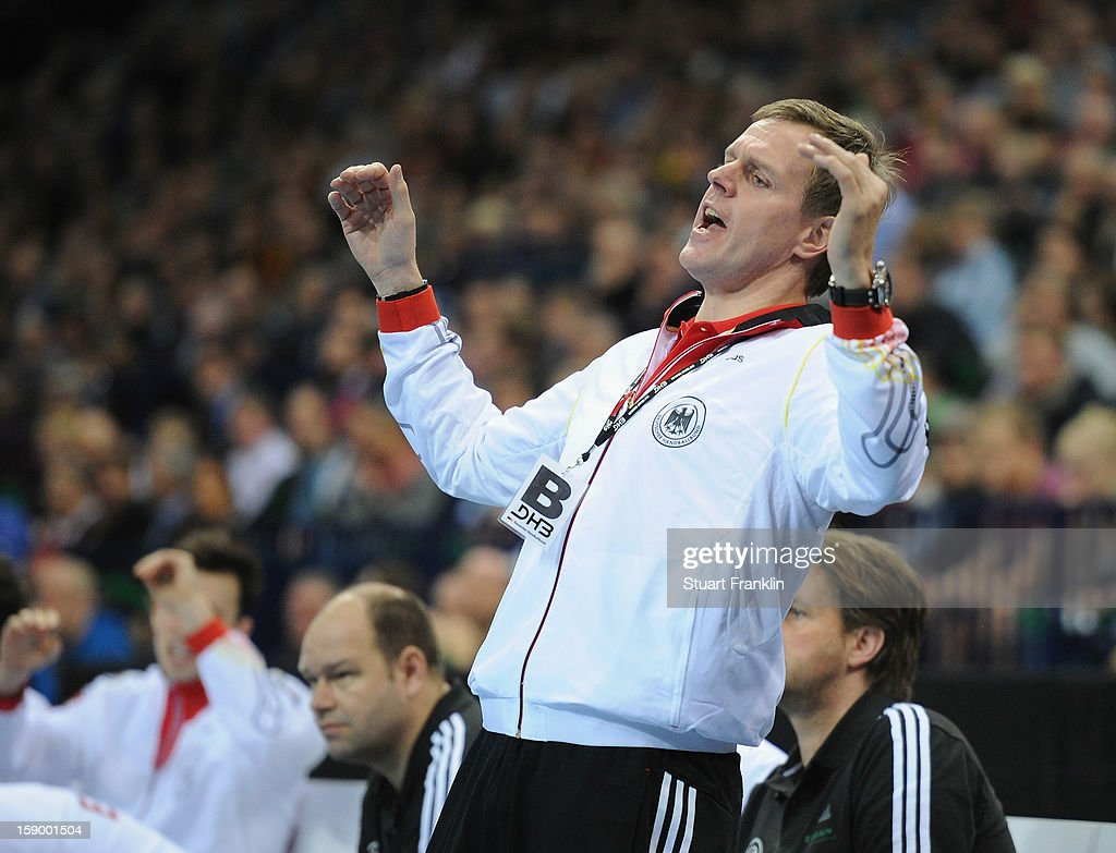 <a gi-track='captionPersonalityLinkClicked' href=/galleries/search?phrase=Martin+Heuberger&family=editorial&specificpeople=2084797 ng-click='$event.stopPropagation()'>Martin Heuberger</a>, head coach of Germany reacts during the international handball friendly match between Germany and Sweden at O2 World on January 5, 2013 in Hamburg, Germany.