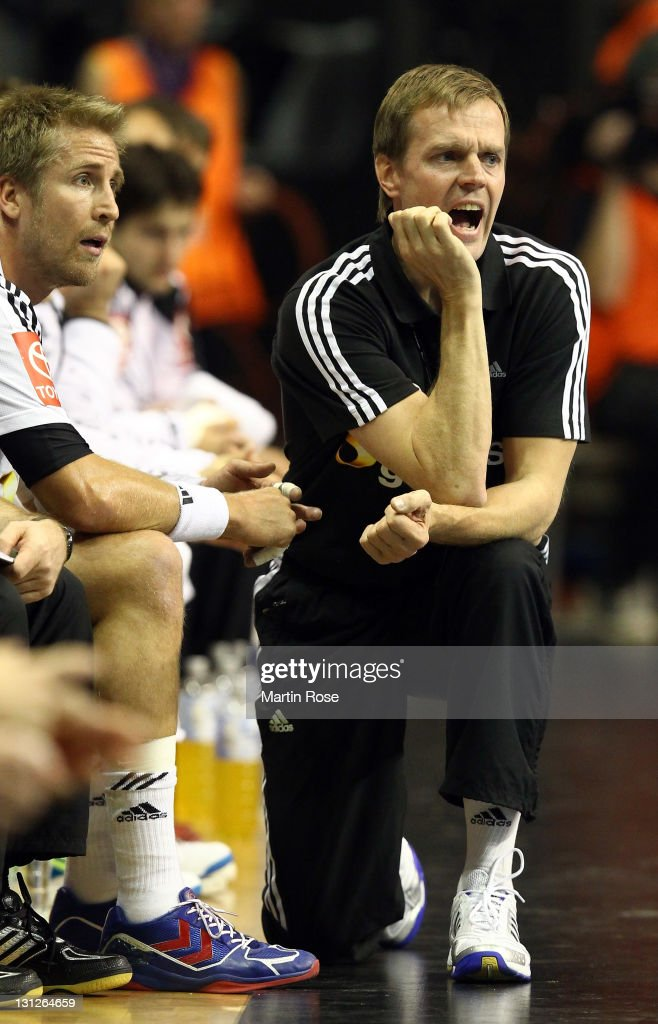 Martin Heuberger, new head coach of Germany gives instructions during the Mens'Handball Supercup match between Germany and Denmark at Max-Schmeling-Halle on November 3, 2011 in Berlin, Germany.