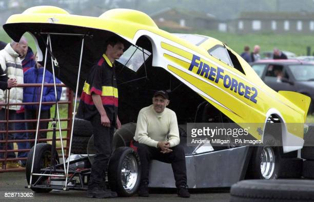 Martin Hill the driver of the Fireforce 2 jet car failed because of poor weather to break the Scottish landspeed record * The 10000 horse power...