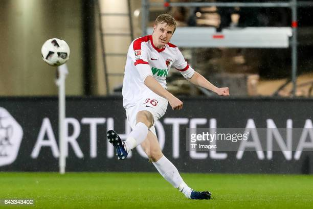 Martin Hinteregger of Augsburg controls the ball during the Bundesliga match between FC Augsburg and Bayer 04 Leverkusen at WWK Arena on February 17...