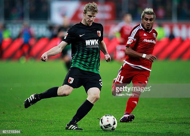 Martin Hinteregger of Augsburg in action during the Bundesliga match between FC Ingolstadt 04 and FC Augsburg at Audi Sportpark on November 5 2016 in...
