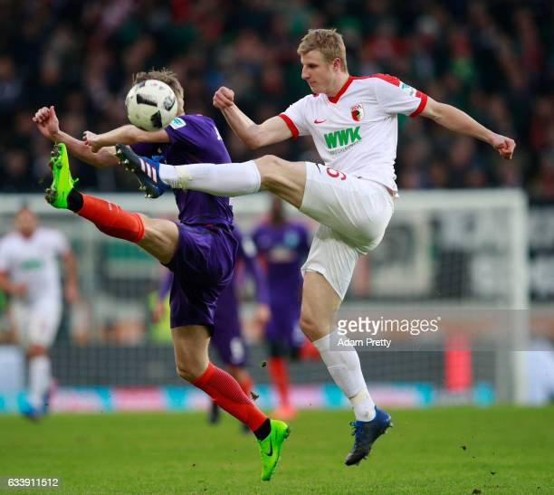 Martin Hinteregger of Augsburg in action during the Bundesliga match between FC Augsburg and Werder Bremen at WWK Arena on February 5 2017 in...