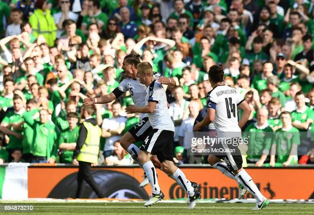 Martin Hinteregger of Austria scores the opening goal during the FIFA 2018 World Cup Qualifier between Republic of Ireland and Austria at Aviva...