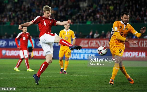 Martin Hinteregger of Austria shoots into the goal which is disallowed during the Austria v Moldavia 2018 FIFA World Cup Qualifier match at Ernst...