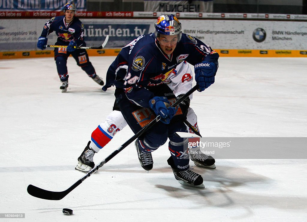 Martin Hinterstocker of EHC Red Bull Muenchen in action during the DEL match between EHC Red Bull Muenchen and Thomas Sabo Ice Tigers at Olympia Eishalle on March 1, 2013 in Munich, Germany.