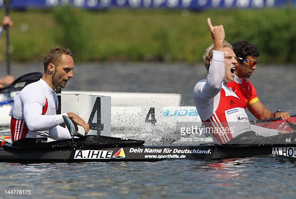 Martin Hollstein and Andreas Ihle of Germany celebrates after the men's kayak double 1000m Afinal during day two of the ICF Canoe Sprint World Cup...
