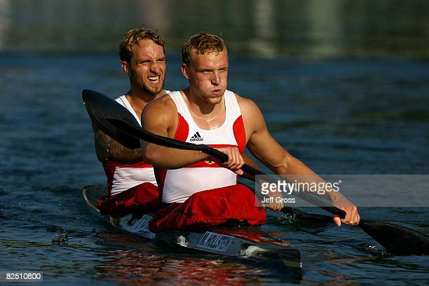 Martin Hollstein and Andreas Ihle of Germany react after winning the gold medal in the Kayak Double 1000m Men Final event at the Shunyi Olympic...