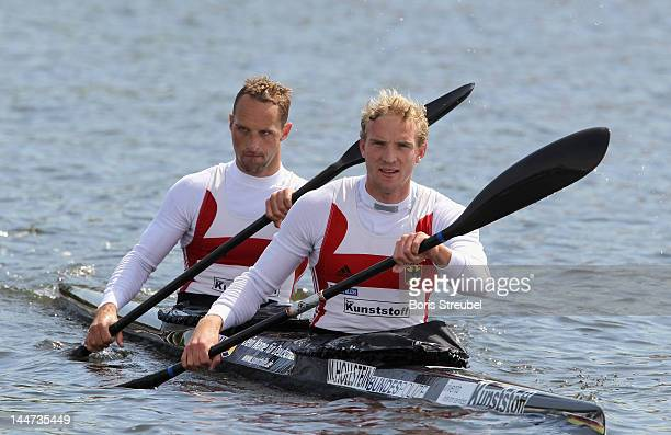Martin Hollstein and Andreas Ihle of Germany warm up prior to the men's kayak double 1000m heat during day one of the ICF Canoe Sprint World Cup 2012...