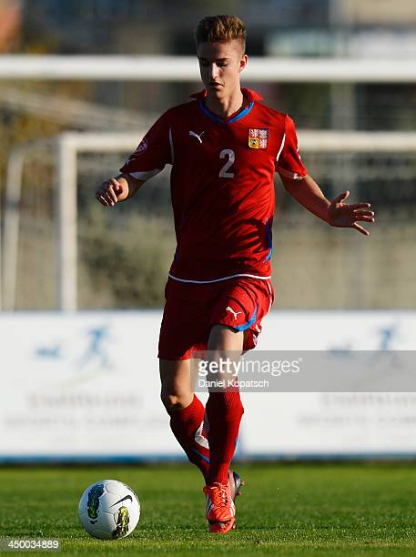 Martin Honis of Czech Republic controls the ball during the U18 international friendly match between Czech Republic and Germany on November 16 2013...