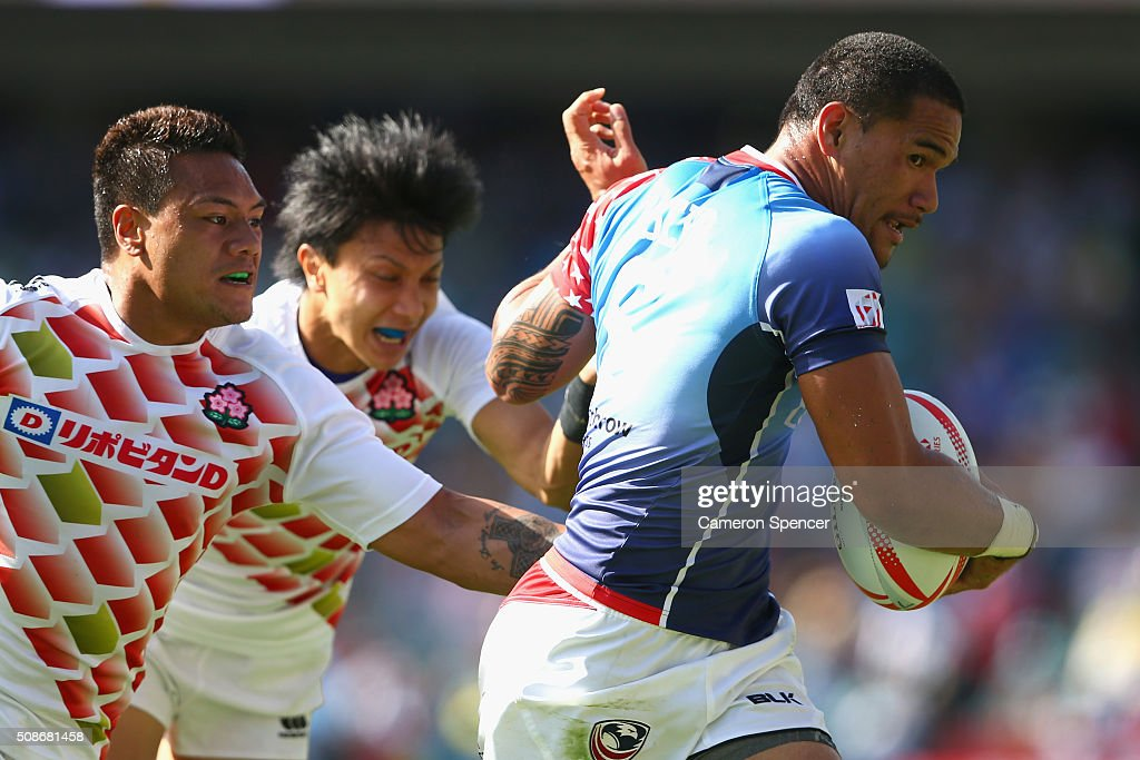 Martin Iosefo of the USA is tackled during the 2016 Sydney Sevens match between Japan and the USA at Allianz Stadium on February 6, 2016 in Sydney, Australia.