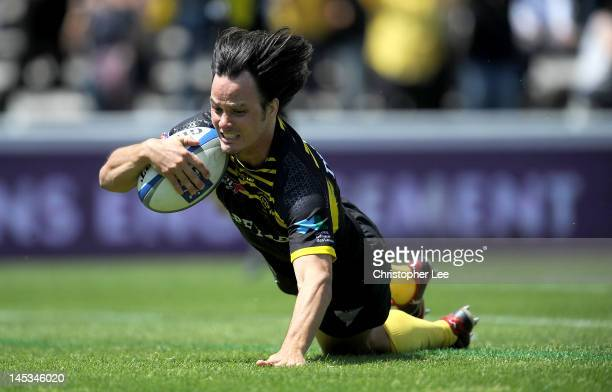 Martin Jagr of MontdeMarsan scores their second try during the Pro Div 2 Finale 2012 between Section Paloise and Stade Montois Rugby at the Stade...