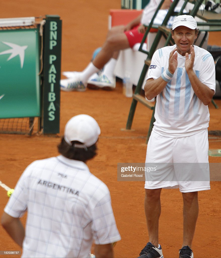 Martin Jaite captian of Argentina Copa Davis team in action during the match between Argentina and Czech Republic as part of the second day of the Davis Cup Semi-final at Mary Tern de Weiss Stadium on September 15, 2012 in Buenos Aires, Argentina.