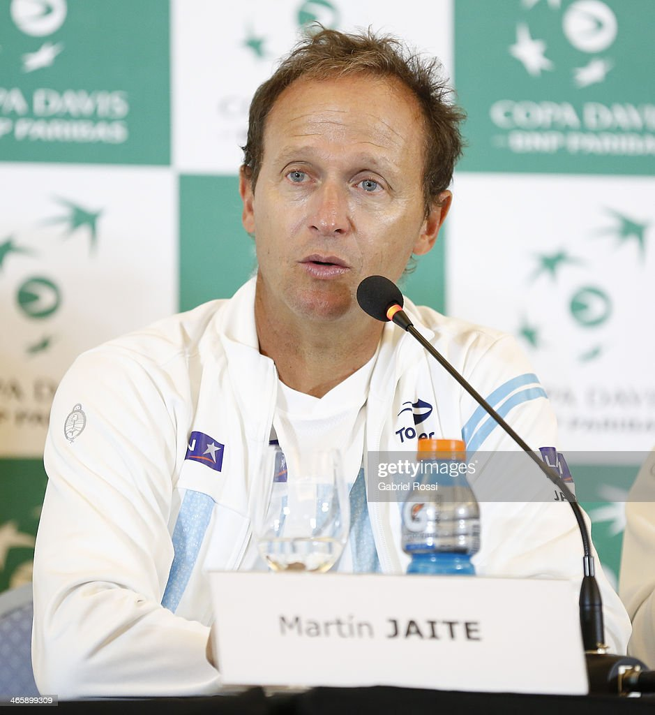 Martin Jaite Coach of Argentina talks during a press conference as part of the Copa Davis Draw between Argentina and Italy at NH Hotel on January 30, 2014 in Buenos Aires, Argentina.
