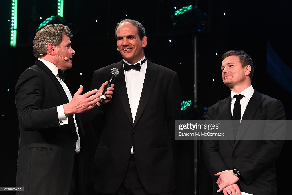 Martin Johnson and Brian O'Driscoll talk on stage with Mark Durden-Smith (L) before presenting the Best International Marketing Campaign in association with SMG Insight to adidas Be The Difference at the BT Sport Industry Awards 2016 at Battersea Evolution on April 28, 2016 in London, England. The BT Sport Industry Awards is the most prestigious commercial sports awards ceremony in Europe, where over 1750 of the industry's key decision-makers mix with high profile sporting celebrities for the most important networking occasion in the sport business calendar.