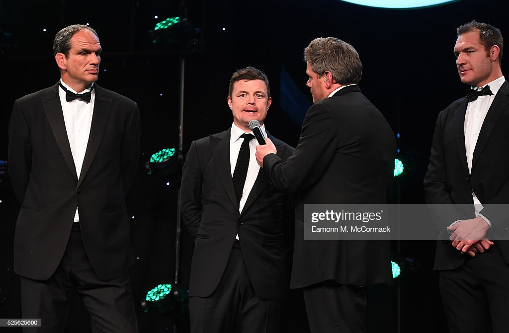 Martin Johnson, Brian O'Driscoll and Ali Williams talk on stage with Mark Durden-Smith before presenting the Best International Marketing Campaign in association with SMG Insight to adidas Be The Difference at the BT Sport Industry Awards 2016 at Battersea Evolution on April 28, 2016 in London, England. The BT Sport Industry Awards is the most prestigious commercial sports awards ceremony in Europe, where over 1750 of the industry's key decision-makers mix with high profile sporting celebrities for the most important networking occasion in the sport business calendar.