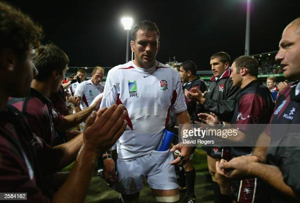 Martin Johnson captain of England leaves the field after the Rugby World Cup Pool C match between England and Georgia at Subiaco Oval October 12 2003...