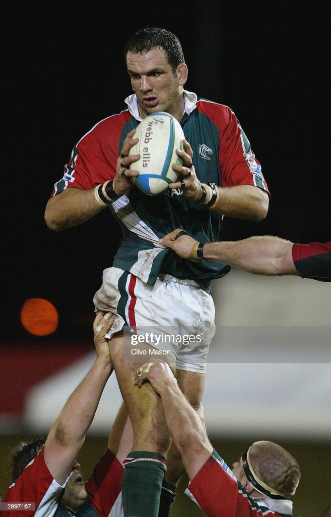 Martin Johnson of Leicester Tigers in action in the lineout during the Heineken Cup match between Gwent Dragons and Leicester Tigers on January 24...