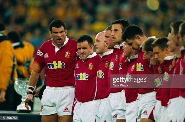Martin Johnson of the British Lions rallies his teammates during the third and final Test Match played between the British and Irish Lions and the...