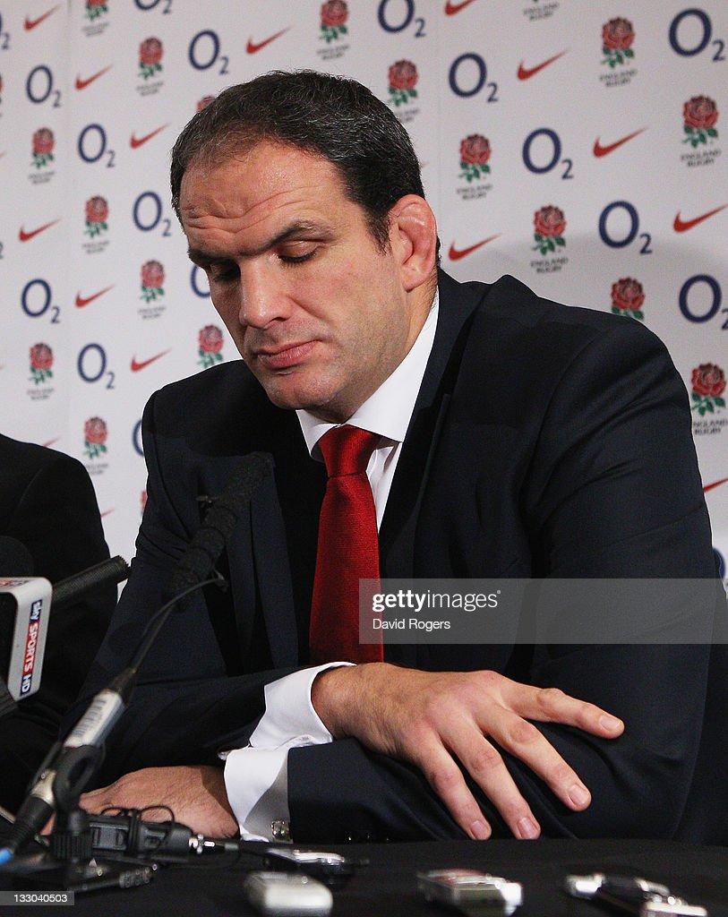 Martin Johnson, the England manager, announces his resignation as he faces the media on November 16, 2011 in Twickenham, England.
