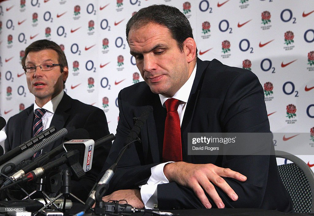 Martin Johnson, (R) the England manager, announces his resignation as he faces the media watched by RFU director of Elite Rugby Rob Andrew on November 16, 2011 in Twickenham, England.