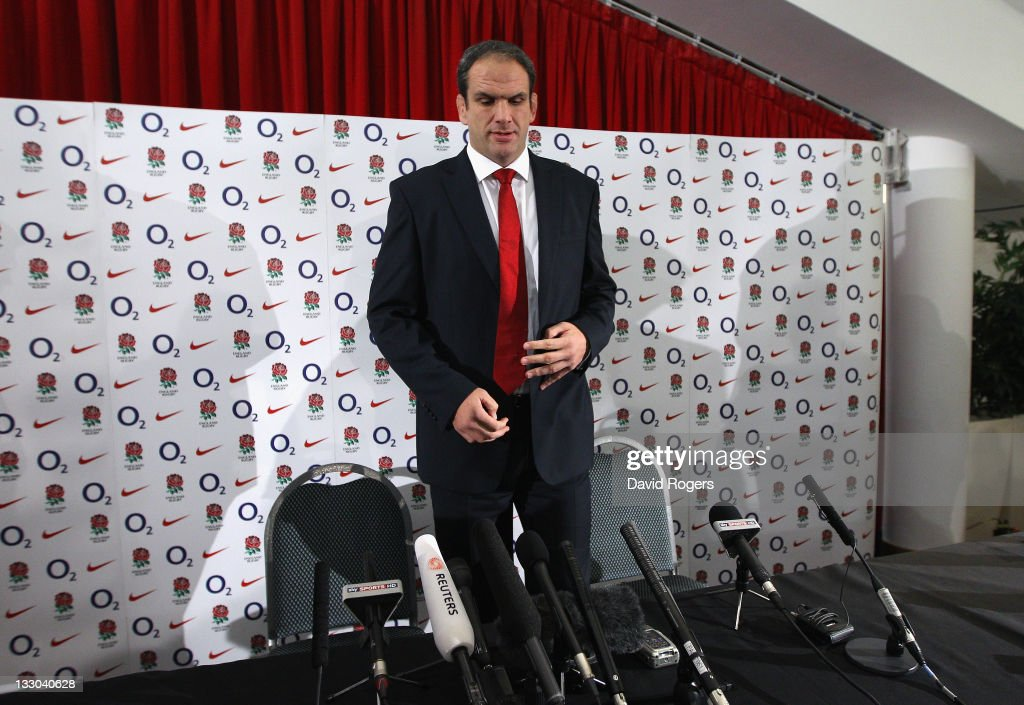 Martin Johnson, the England manager, takes a seat at the press conference prior to announcing his resignation on November 16, 2011 in Twickenham, England.