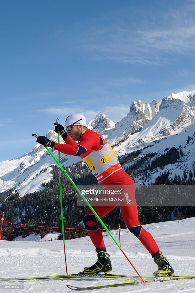 Martin Johnsrud Sundby competes in the Nordic skiing combined World Cup relay (4 x 7,5 km) on January 20, 2013 in La Clusaz, eastern France.