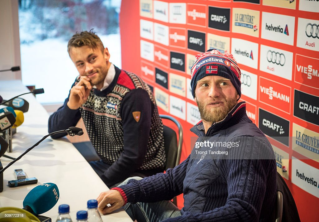 <a gi-track='captionPersonalityLinkClicked' href=/galleries/search?phrase=Martin+Johnsrud+Sundby&family=editorial&specificpeople=4668146 ng-click='$event.stopPropagation()'>Martin Johnsrud Sundby</a> of Norway and <a gi-track='captionPersonalityLinkClicked' href=/galleries/search?phrase=Petter+Northug&family=editorial&specificpeople=800847 ng-click='$event.stopPropagation()'>Petter Northug</a> of Norway attend a press conference ahead of the Cross Country Men 10.0 km Classic on February 12, 2016 in Falun, Sweden.
