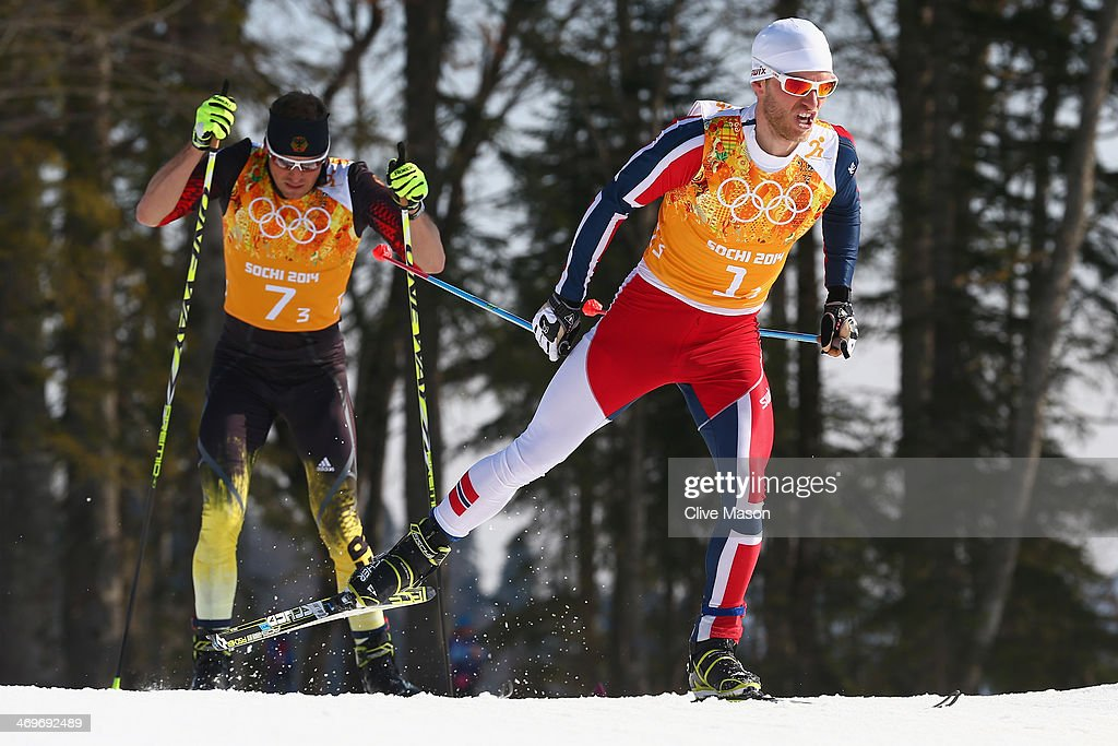 <a gi-track='captionPersonalityLinkClicked' href=/galleries/search?phrase=Martin+Johnsrud+Sundby&family=editorial&specificpeople=4668146 ng-click='$event.stopPropagation()'>Martin Johnsrud Sundby</a> (R) of Norway and <a gi-track='captionPersonalityLinkClicked' href=/galleries/search?phrase=Tobias+Angerer&family=editorial&specificpeople=724015 ng-click='$event.stopPropagation()'>Tobias Angerer</a> of Germany compete on the third leg of the Cross Country Men's 4 x 10 km Relay during day nine of the Sochi 2014 Winter Olympics at Laura Cross-country Ski & Biathlon Center on February 16, 2014 in Sochi, Russia.