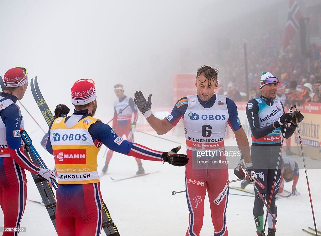 Martin Johnsrud Sundby of Norway celebrate victory and receive handshake from Petter Northug of Norway during the Cross Country Men 5.0 km Mass Start Classic on February 06, 2016 in Oslo, Norway.