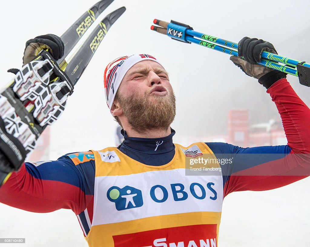 Martin Johnsrud Sundby of Norway celebrates victory during the Cross Country Men 5.0 km Mass Start Classic on February 6, 2016 in Oslo, Norway.