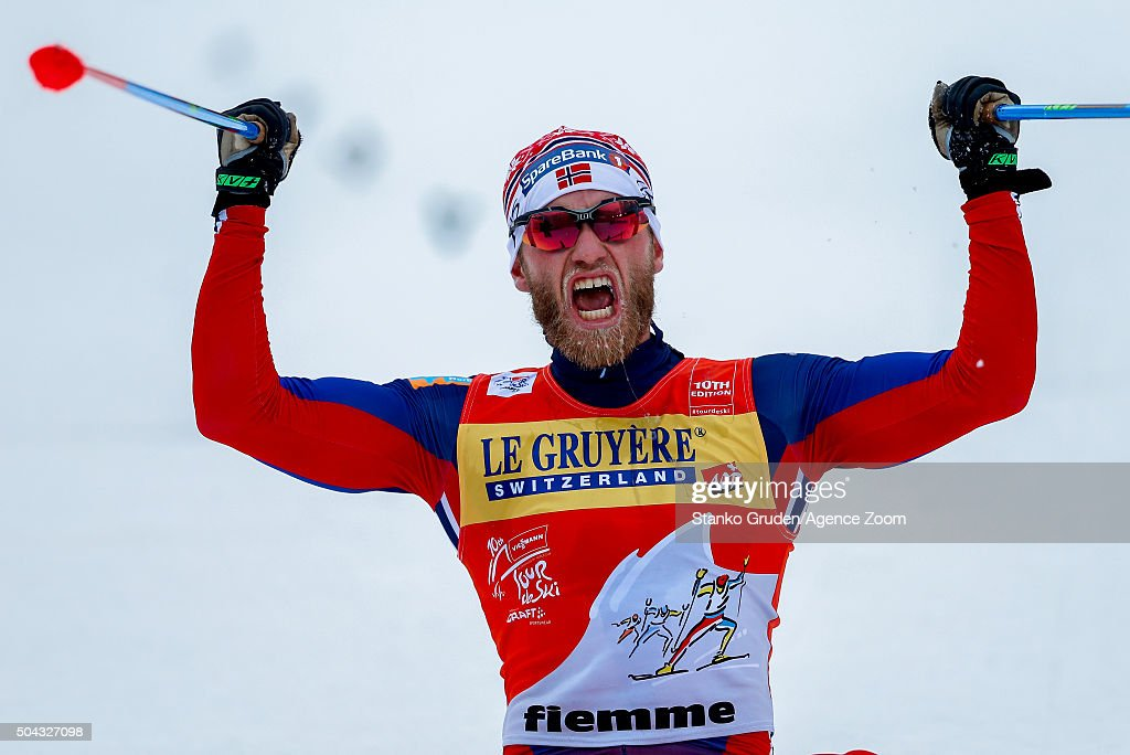 <a gi-track='captionPersonalityLinkClicked' href=/galleries/search?phrase=Martin+Johnsrud+Sundby&family=editorial&specificpeople=4668146 ng-click='$event.stopPropagation()'>Martin Johnsrud Sundby</a> of Norway takes 1st place during the FIS Nordic World Cup Men's and Women's Cross Country Tour de Ski on January 10, 2016 in Val di Fiemme, Italy.