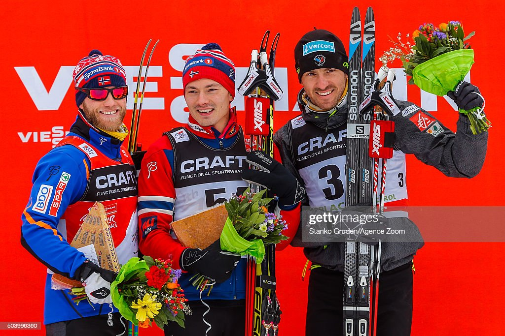 <a gi-track='captionPersonalityLinkClicked' href=/galleries/search?phrase=Martin+Johnsrud+Sundby&family=editorial&specificpeople=4668146 ng-click='$event.stopPropagation()'>Martin Johnsrud Sundby</a> of Norway takes 2nd place, Finn Haagen Krogh of Norway takes 1st place, <a gi-track='captionPersonalityLinkClicked' href=/galleries/search?phrase=Maurice+Manificat&family=editorial&specificpeople=5632025 ng-click='$event.stopPropagation()'>Maurice Manificat</a> of France takes 3rd place during the FIS Nordic World Cup Men's and Women's Cross Country Tour de Ski on January 8, 2016 in Toblach Hochpustertal, Italy.