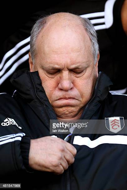 Martin Jol the Fulham manager looks on prior to kickoff during the Barclays Premier League match between Fulham and Swansea City at Craven Cottage on...