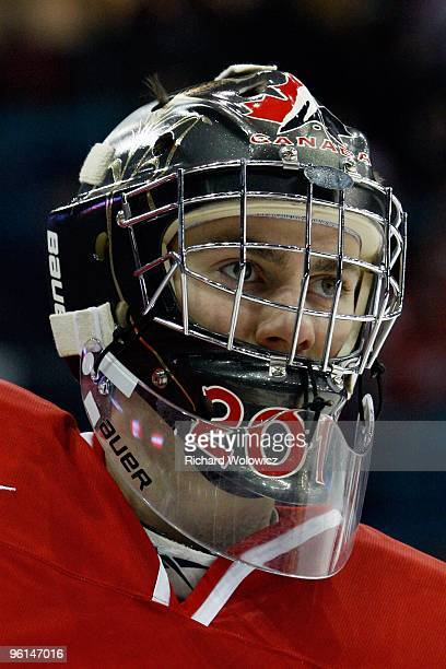Martin Jones of Team Canada skates during the 2010 IIHF World Junior Championship Tournament Semifinal game against Team Switzerland on January 3...