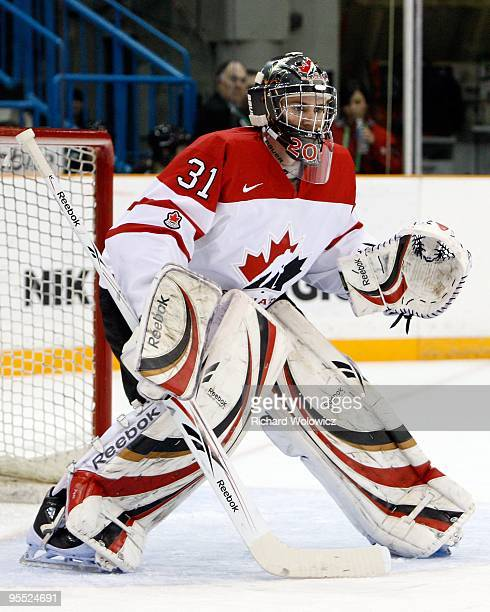 Martin Jones of Team Canada watches play during the 2010 IIHF World Junior Championship Tournament game against Team Slovakia on December 29 2009 at...