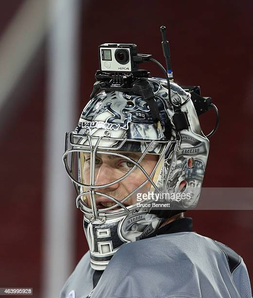 Martin Jones of the Los Angeles Kings practices at Levi's Stadium on February 20 2015 in Santa Clara California The practice day was held the day...