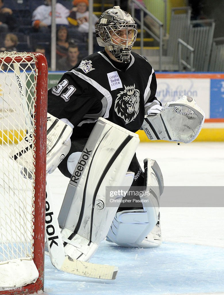 Martin Jones #31 of the Manchester Monarchs looks on as he tends goal during an American Hockey League game against the Bridgeport Sound Tigers on February 23, 2013 at the Webster Bank Arena at Harbor Yard in Bridgeport, Connecticut.